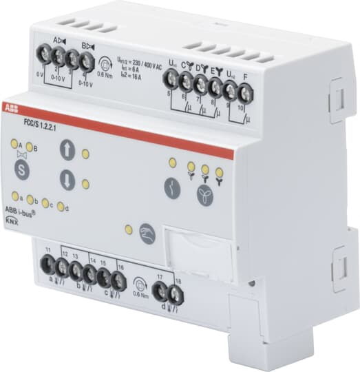 FCC/S1.2.2.1 Fan Coil Controller, 2 x 0-10 V, Manual Operation, 3-stage, MDRC